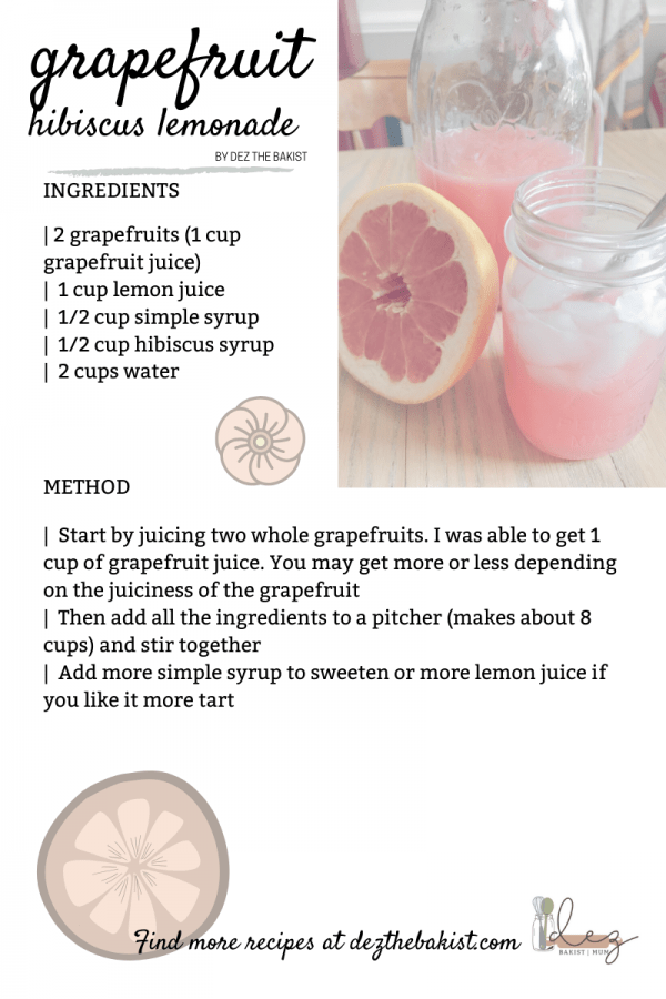 The weather is warming up and I am ready for it! This grapefruit hibiscus lemonade totally hits the spot for refreshment on a warm day.
