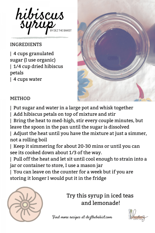 I use this hibiscus simple syrup in my iced tea and lemonade. Simple syrups are pretty, ummm, simple. The basic ratio is one cup sugar to one cup liquid. Which makes syrups one of my favorite things to make because I can use leftover juice or soaking liquids to make a new syrup.